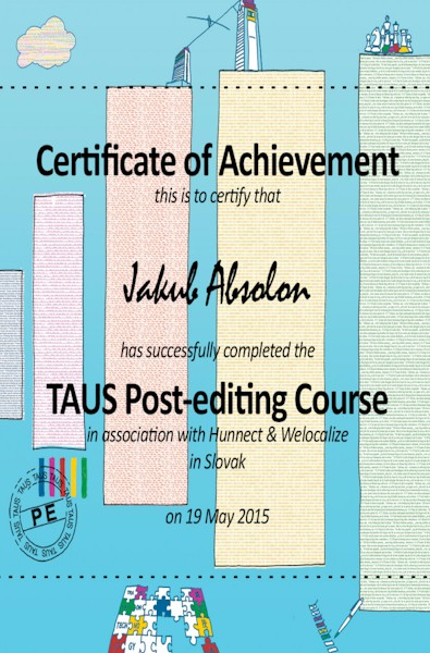 Certificate for the TAUS post-editing course.
